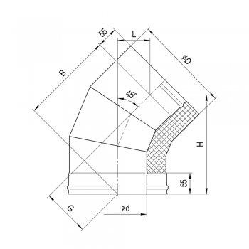 Феррум сэндвич-колено 135* (0,8мм+нерж.) Ф 115х200