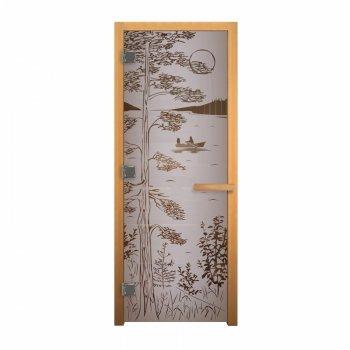 Дверь стекло1900*700 Сатин Матовая рис. Тайга, 8мм,3 петли