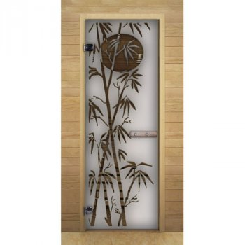 Дверь стекло Сатин Матовая рис. Бамбук, коробка Премиум
