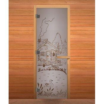 Дверь стекло1900*700 Сатин Матовая рис. Банька, 8мм,3 петли